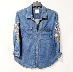 American Eagle | Embroidered Jean Blouse